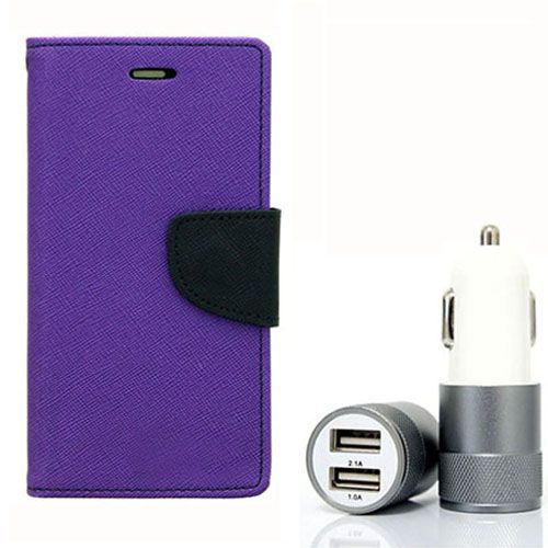 Wallet Flip Case Back Cover For HTC826 - (Purple) + Dual ports USB car Charger by Style Crome Store.