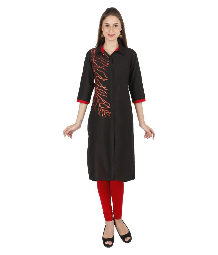 Pal For All Moments Black Cotton Silk A-line Kurti