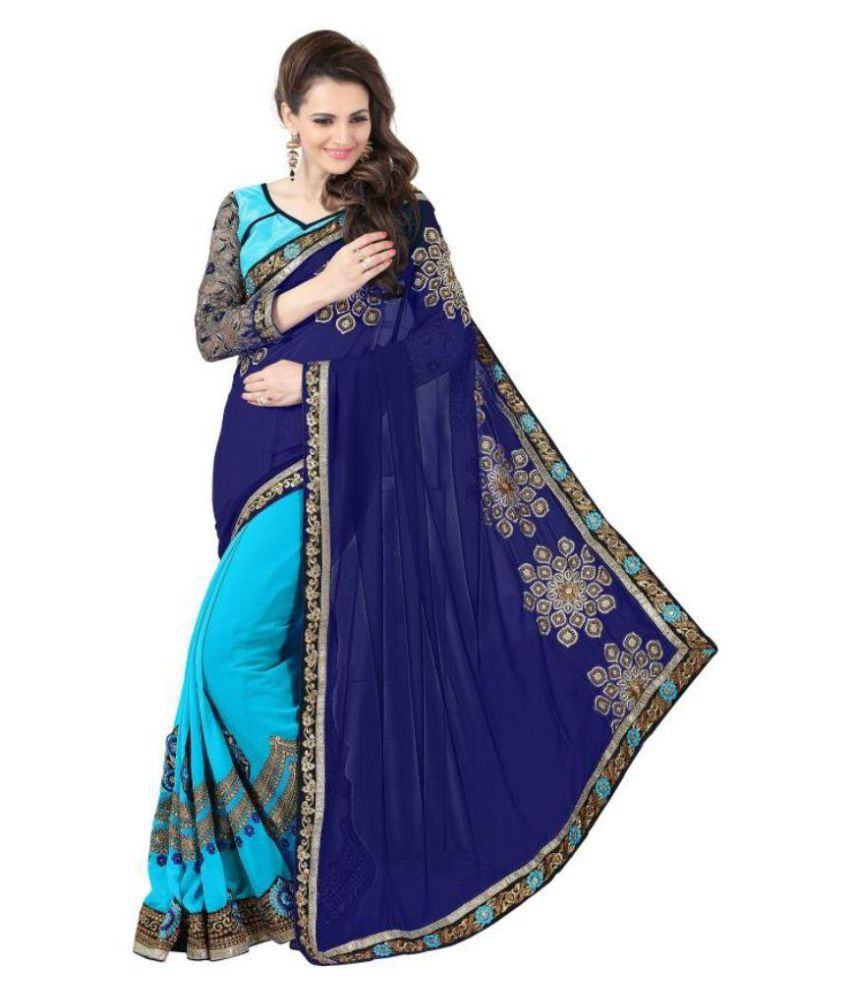 Saloni Designer Blue Georgette Saree