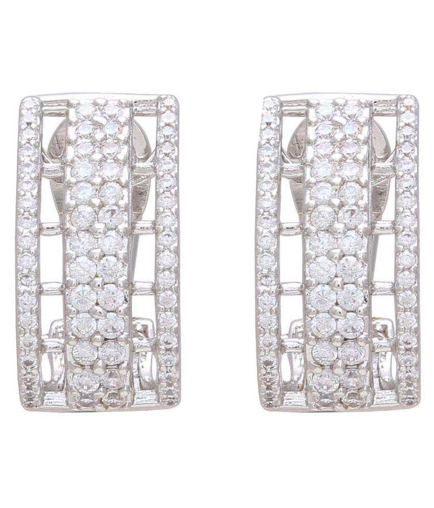 Sparkling Drop Silver Stud Earrings