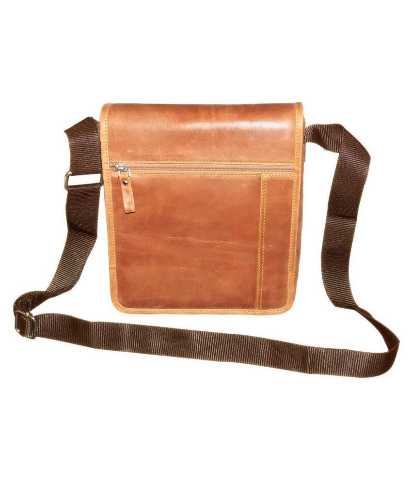 Style 98 Beige Pure Leather Sling Bag