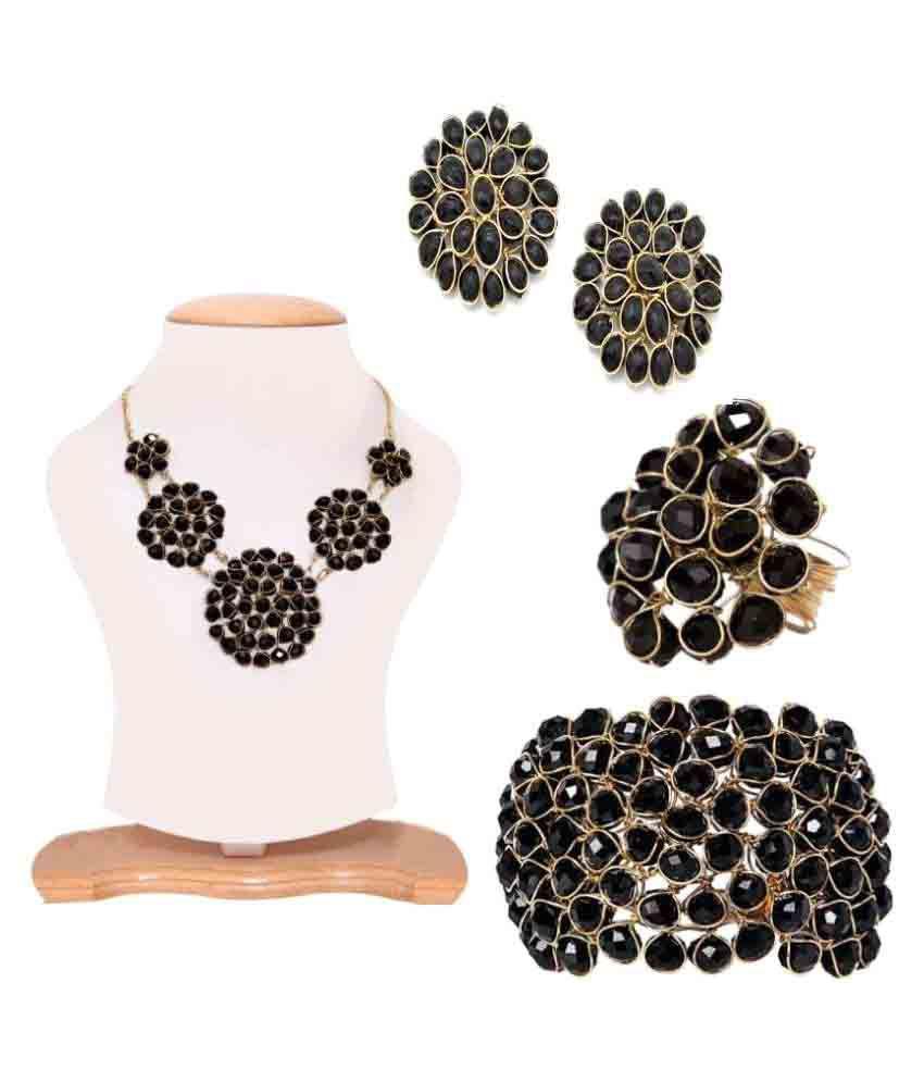 Shilpi Handicrafts Black Necklace Set Combo