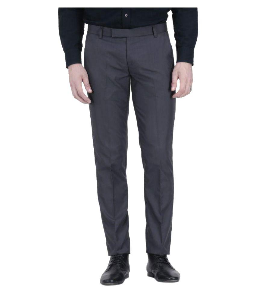 Vandnam Fabrics Grey Regular Flat Trouser