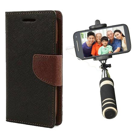 Wallet Flip Case Back Cover For Sony Expria T3-(Blackbrown)+Mini Selfie Stick Compatible for all MobilesBy Style Crome Store