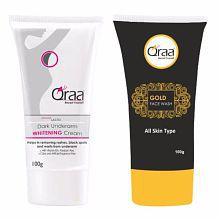 Qraa Advanced Lacto Dark Underarm Whitening Cream & Gold Face Wash Combo (100gm + 100 gm)