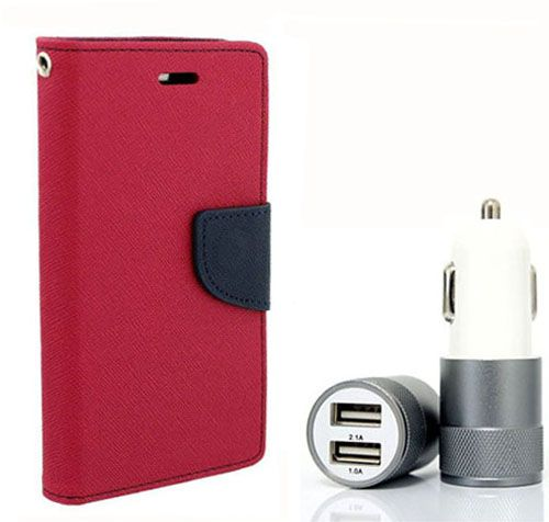 Wallet Flip Case Back Cover For Micromax Uuphoria - (Pink) + Dual ports USB car Charger by Style Crome Store.