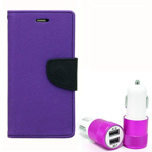 Wallet Flip Case Back Cover For Sony Xpria T3 - (Purple) +Dual ports USB car Charger by Style Crome Store.