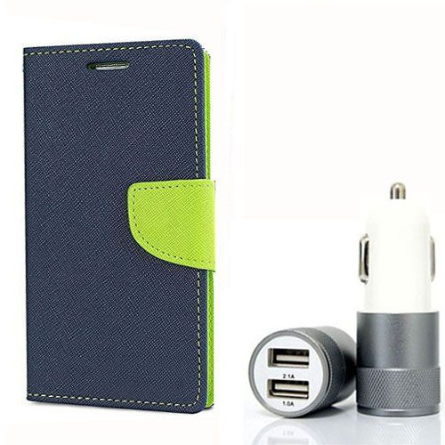 Wallet Flip Case Back Cover For HTC M9 Plus - (Blue) + Dual ports USB car Charger by Style Crome Store.