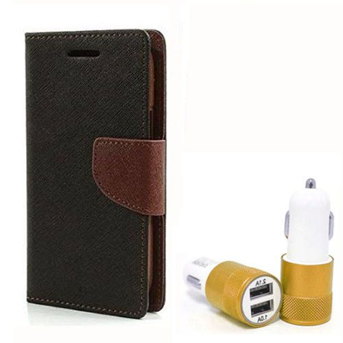 Wallet Flip Case Back Cover For Samsung ON5 - (Blackbrown) + Dual ports USB car Charger by Style Crome Store.