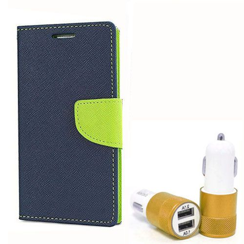 Wallet Flip Case Back Cover For Micromax E311 - (Blue) + Dual ports USB car Charger by Style Crome Store.