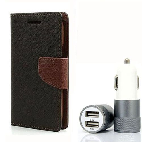 Wallet Flip Case Back Cover For Sony Xpria M4 - (Blackbrown) + Dual ports USB car Charger by Style Crome Store.