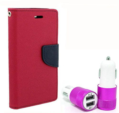 Wallet Flip Case Back Cover For Motorola Moto G2 - (Pink) + Dual ports USB car Charger by Style Crome Store.