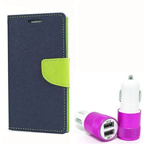 Wallet Flip Case Back Cover For Samsung A5 - (Blue) +Dual ports USB car Charger by Style Crome Store.