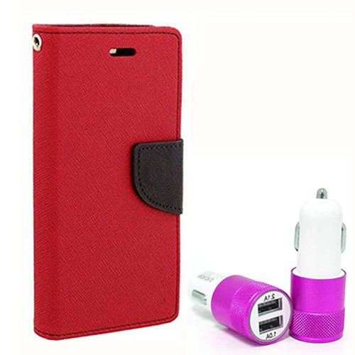 Wallet Flip Case Back Cover For HTC620 - (Red) +Dual ports USB car Charger by Style Crome Store.