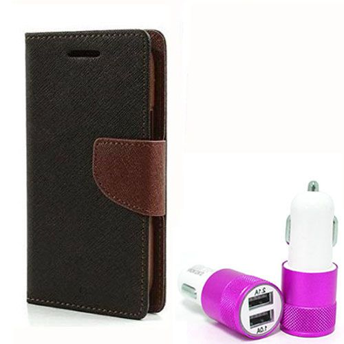 Wallet Flip Case Back Cover For Micromax A117 - (Blackbrown) +Dual ports USB car Charger by Style Crome Store.