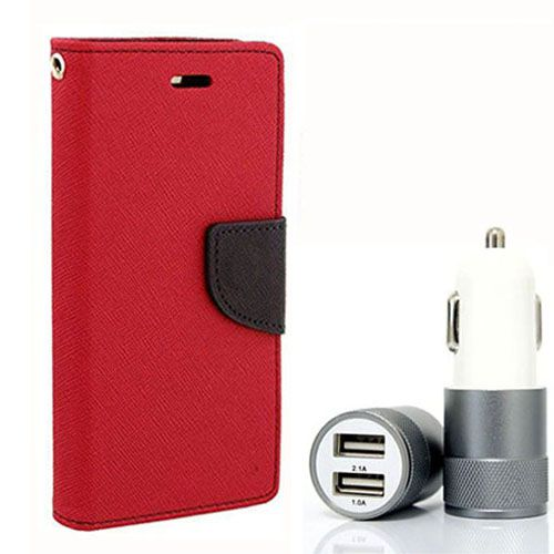 Wallet Flip Case Back Cover For Redmi 2S/Prime - (Red) + Dual ports USB car Charger by Style Crome Store.