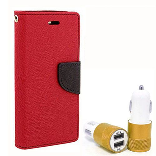 Wallet Flip Case Back Cover For Lenovo A6000 - (Red) + Dual ports USB car Charger by Style Crome Store.