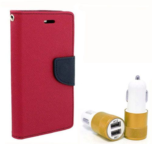 Wallet Flip Case Back Cover For Micromax A116 - (Pink) + Dual ports USB car Charger by Style Crome Store.