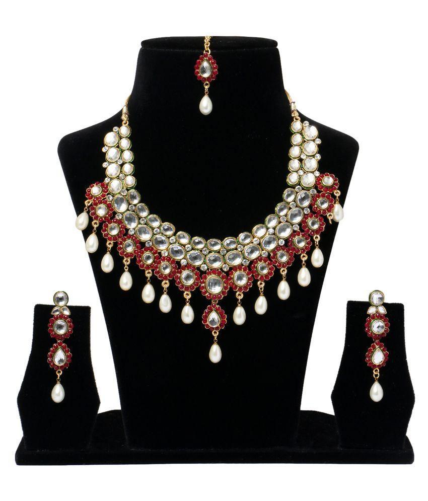 Kalki Multicolour Necklaces Set with Mang Tikka