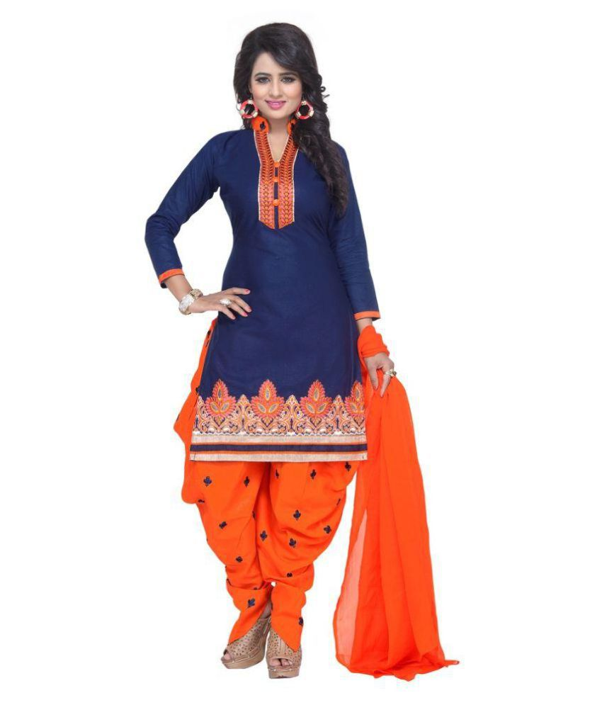 06941fdc54 Mastani Blue and Orange Cotton Dress Material - Buy Mastani Blue and Orange  Cotton Dress Material Online at Best Prices in India on Snapdeal