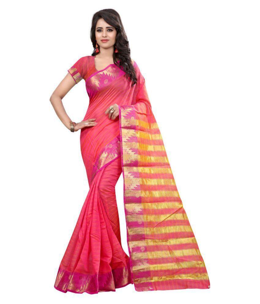 Nirja Creation Pink Cotton Silk Saree