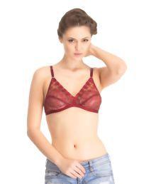 Melisa Maroon Lace Plunge Bra