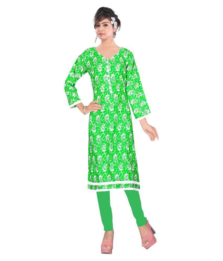Style Mania Green Cotton Princess cut Kurti