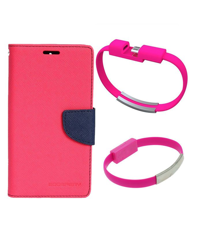 Wallet Flip Case Back Cover For Micromax E311-(Pink)+USB Bracelet Cable Charging for all smart phones by Style Crome.