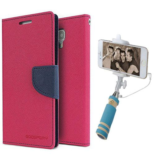 Wallet Flip Case Back Cover For Mircomax A102-(Pink)+Mini Selfie Stick Compatible for all MobilesBy Style Crome Store