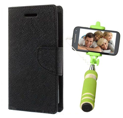 Wallet Flip Case Back Cover For Nokia 520-(Black)+Mini Selfie Stick Compatible for all MobilesBy Style Crome Store