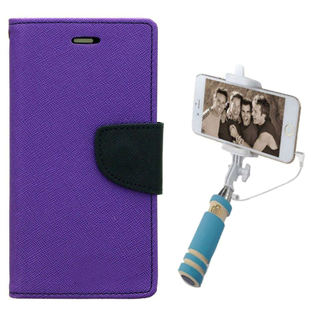 Wallet Flip Case Back Cover For LG G2-(Purple)+Mini Selfie Stick Compatible for all MobilesBy Style Crome Store