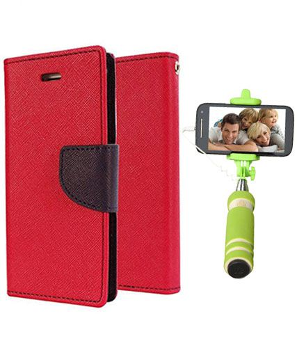 Wallet Flip Case Back Cover For Mircomax Q345 -(Red)+Mini Selfie Stick Compatible for all MobilesBy Style Crome Store