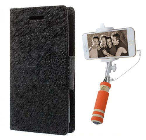 Wallet Flip Case Back Cover For Motorola Moto X3 -(Black)+Mini Selfie Stick Compatible for all MobilesBy Style Crome Store