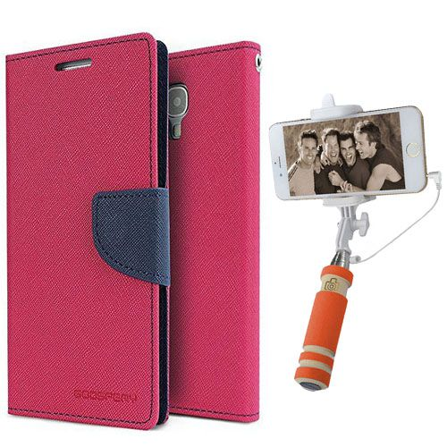 Wallet Flip Case Back Cover For Apple I phone 6-(Pink)+Mini Selfie Stick Compatible for all MobilesBy Style Crome Store