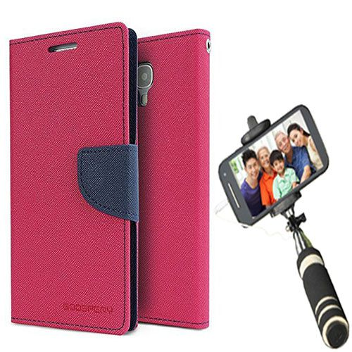 Wallet Flip Case Back Cover For Samsung J5-(Pink)+Mini Selfie Stick Compatible for all MobilesBy Style Crome Store