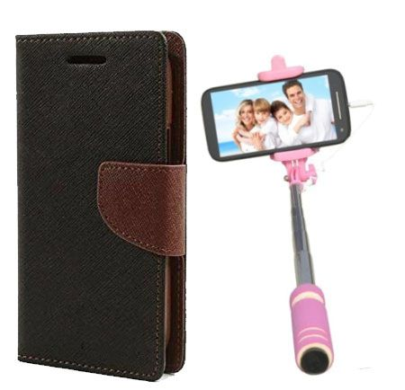 Wallet Flip Case Back Cover For Nokia 720-(Blackbrown)+Mini Selfie Stick Compatible for all MobilesBy Style Crome Store