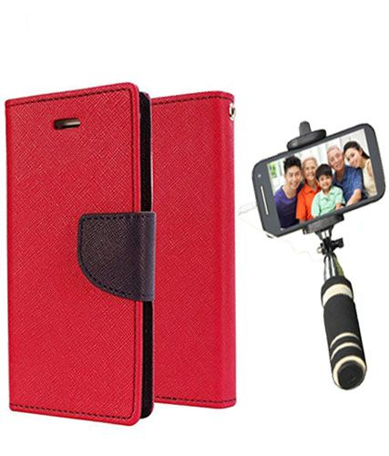 Wallet Flip Case Back Cover For Motorola Moto E -(Red)+Mini Selfie Stick Compatible for all MobilesBy Style Crome Store