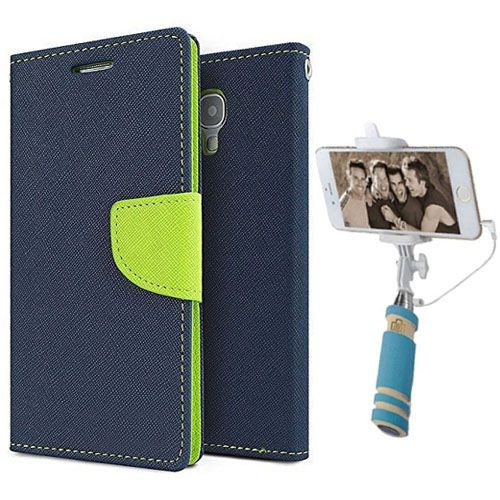Wallet Flip Case Back Cover For Sony Expria C3-(Blue)+Mini Selfie Stick Compatible for all MobilesBy Style Crome Store