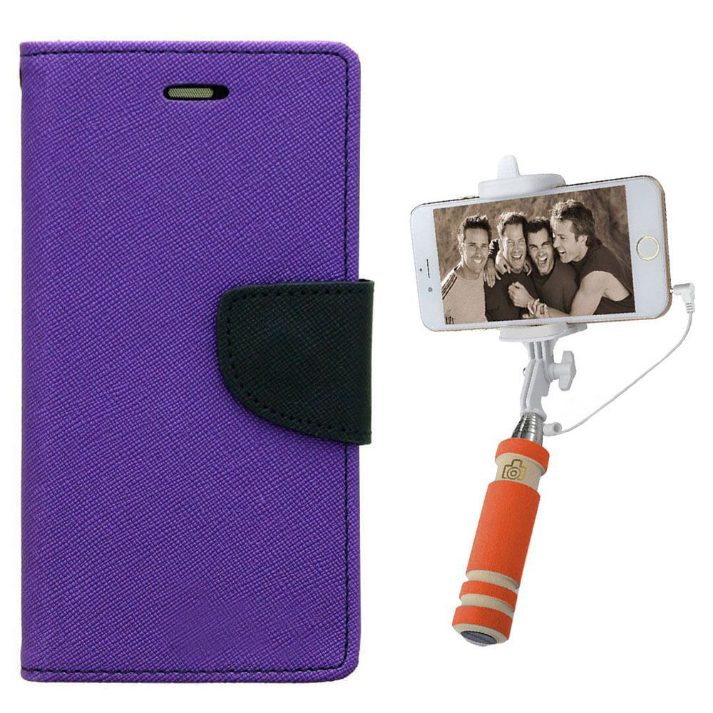Wallet Flip Case Back Cover For Samsung Tizen Z3-(Purple)+Mini Selfie Stick Compatible for all MobilesBy Style Crome Store