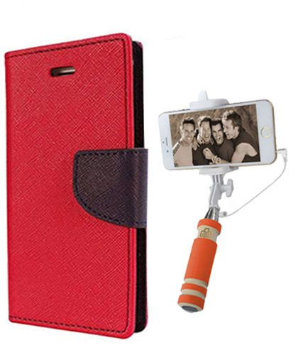 Wallet Flip Case Back Cover For HTC616 -(Red)+Mini Selfie Stick Compatible for all MobilesBy Style Crome Store