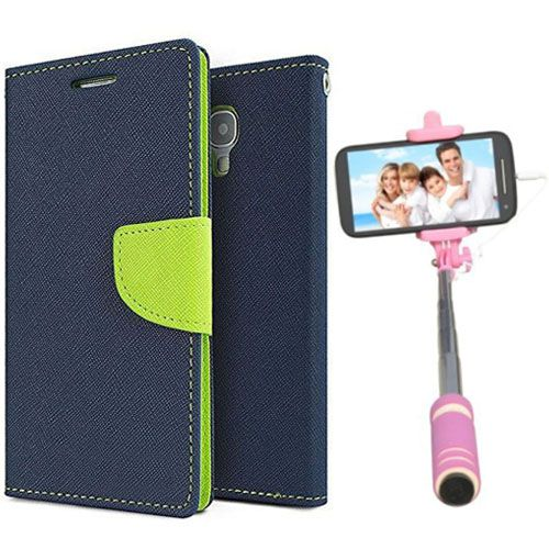 Wallet Flip Case Back Cover For Mircomax Uuphoria-(Blue)+Mini Selfie Stick Compatible for all MobilesBy Style Crome Store