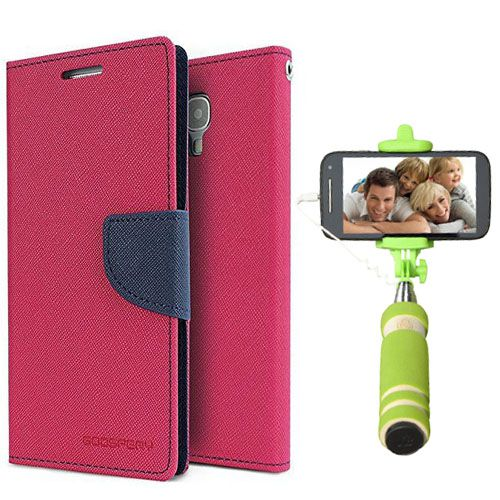 Wallet Flip Case Back Cover For Apple I phone 4-(Pink)+Mini Selfie Stick Compatible for all MobilesBy Style Crome Store