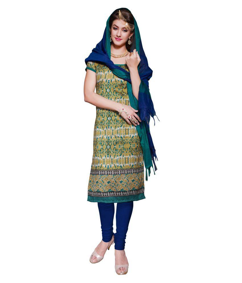 Aasvaa Multicoloured Bhagalpuri Cotton Dress Material
