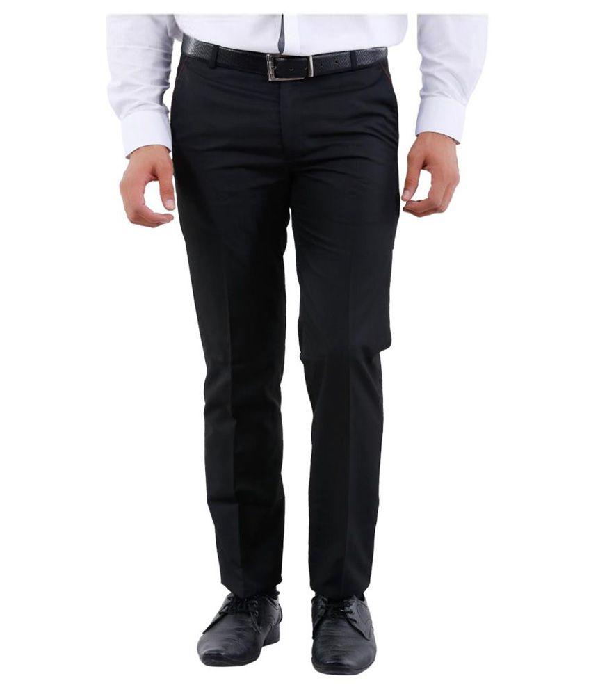 La Mode Black Regular Flat Trouser