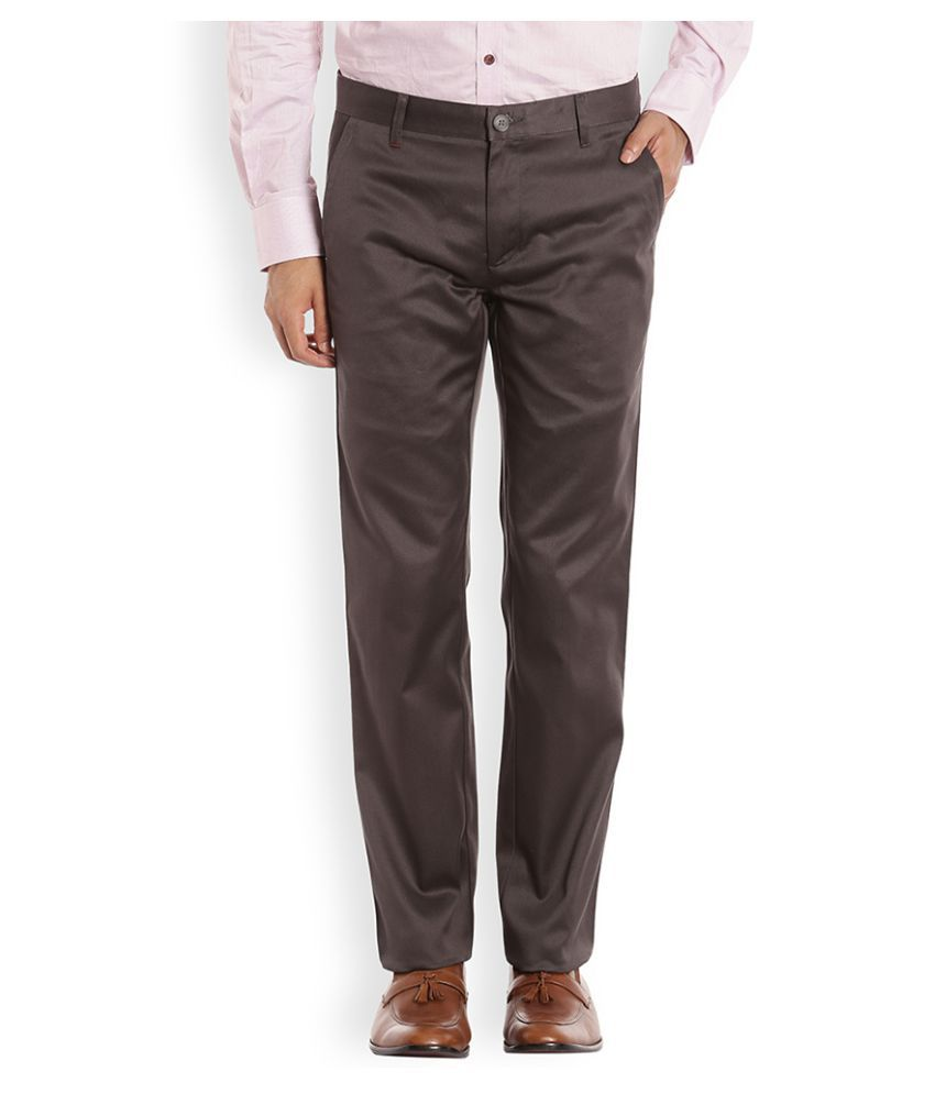 Raymond Dark Brown Regular Flat Trouser