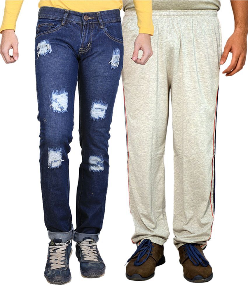 Van Galis Blue Regular Fit Distressed Jeans with Trackpant