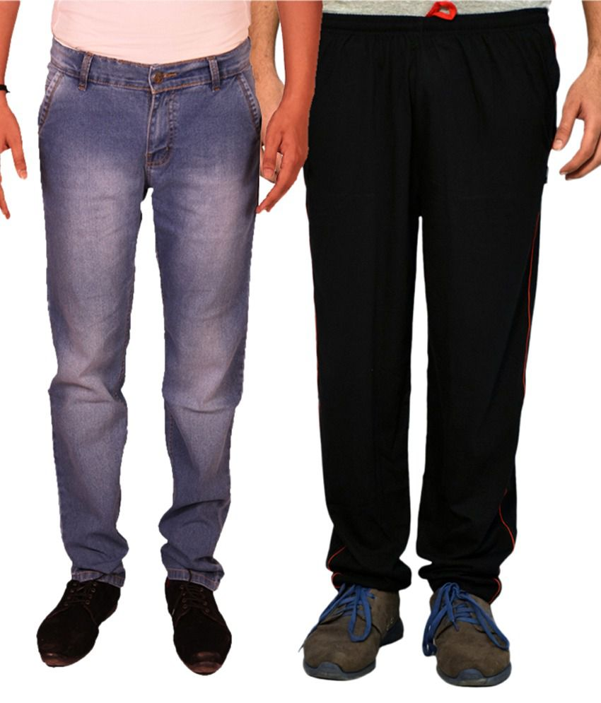 Van Galis Blue Regular Fit Faded Jeans with Trackpant