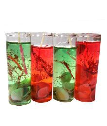 Home Shop Retails Glass Shape Gel Candles (Red & Green, Pack Of 4)