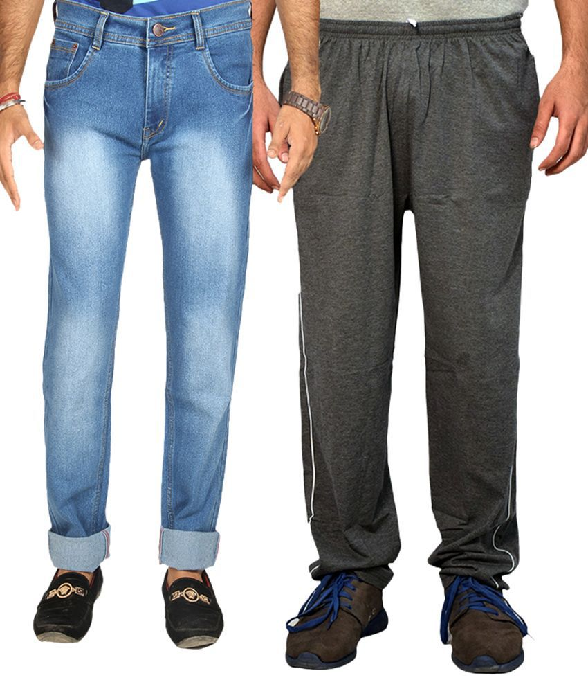 Van Galis Blue Regular Fit Washed Jeans with Trackpant