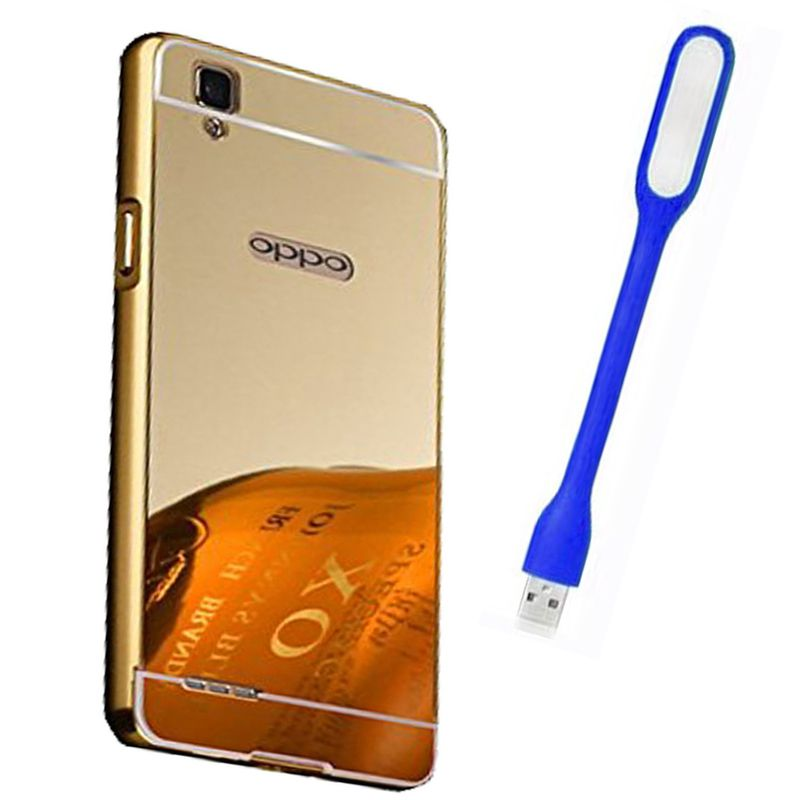 Mirror Back Cover For Oppo F1 + Usb Light free by Style Crome.